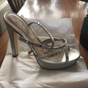 Nina silver strappy 5 1/2 in heels